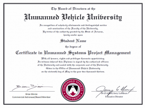 Sample professional certificate Unmanned Vehicle University