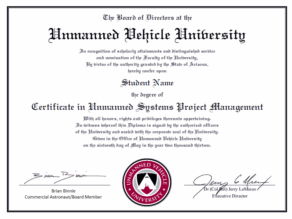 Professional certificate unmanned vehicle university sample professional certificate unmanned vehicle university yadclub Choice Image